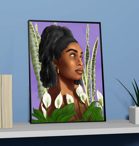 "Growth 11""x14"" Print - Beautiful Black Women With Natural Hair Artwork Surrounded By Houseplants Snake plants  Peace Lily - Morgan Cerese Art"