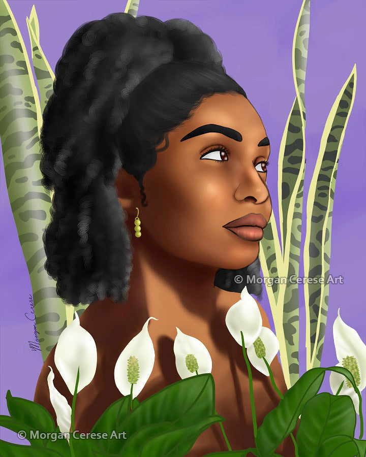 "Growth 5""x7"" Print - Beautiful Black Women With Natural Hair Artwork Surrounded By Houseplants Snake plants  Peace Lily - Morgan Cerese Art"
