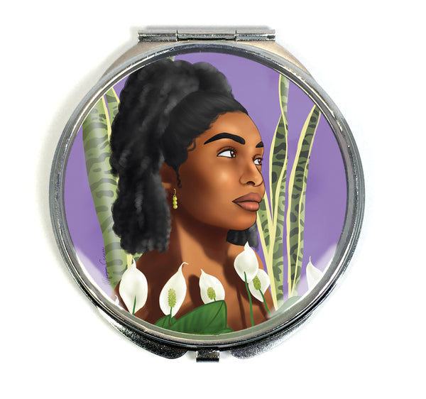 Growth Compact Mirror - Beautiful Black Woman With Natural Afro Hair - Morgan Cerese Art