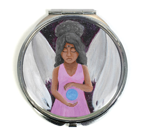 Angel of Clarity Compact Mirror - Morgan Cerese Art