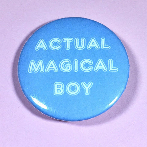 Actual Magical Boy Pin-back Button - Morgan Cerese Art