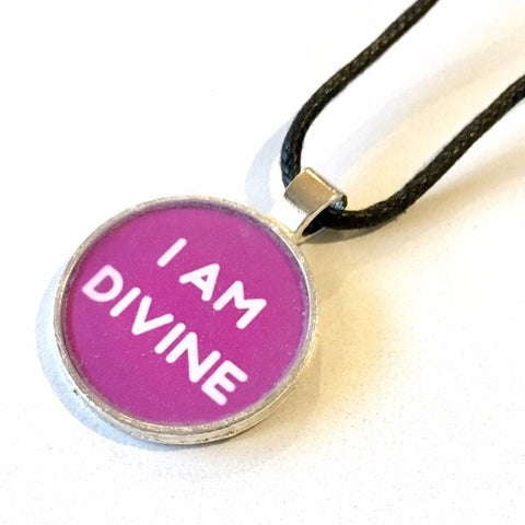 I Am Divine 25 mm/1 inch Crown Chakra Sahasrara Affirmation Art Pendant - Morgan Cerese Art