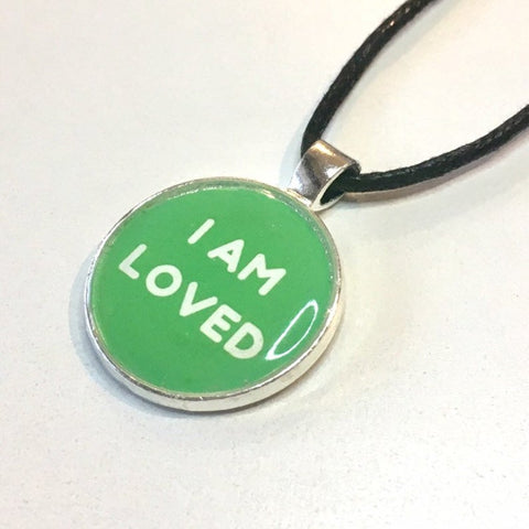 I Am Loved 25 mm/1 inch Heart Chakra Anahata - Healing Affirmation Art Pendant - Morgan Cerese Art