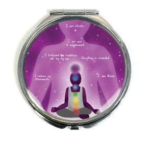 Crown Chakra Sahasrara Healing Affirmation Compact Mirror - Morgan Cerese Art