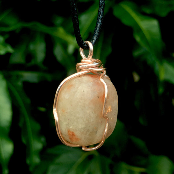 Tumbled Sunstone Wire Wrapped Pendant - Morgan Cerese Art