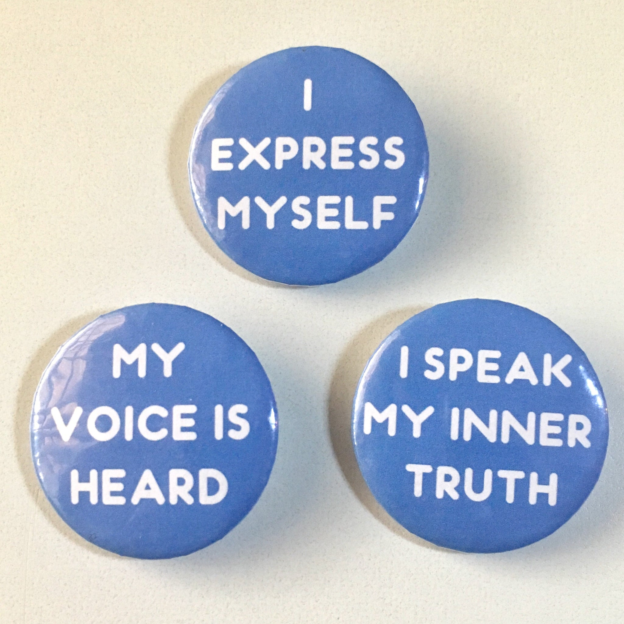 Throat Chakra Affirmation Pin-back Button - Morgan Cerese Art