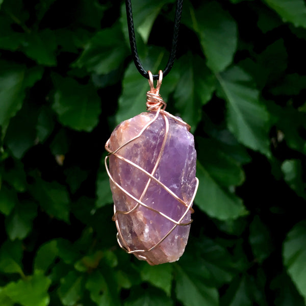 Raw Amethyst Wire Wrapped Pendant - Morgan Cerese Art