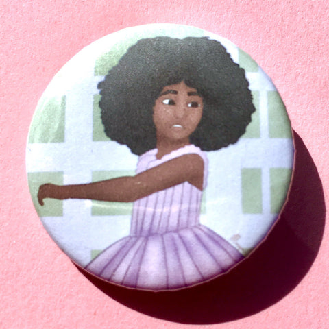 Afro Ballerina Pin-back Button