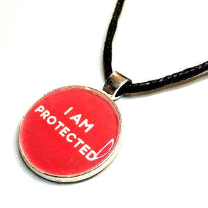 I Am Protected 25 mm/1 inch Root Chakra Muladhara Affirmation Art Pendant - Morgan Cerese Art