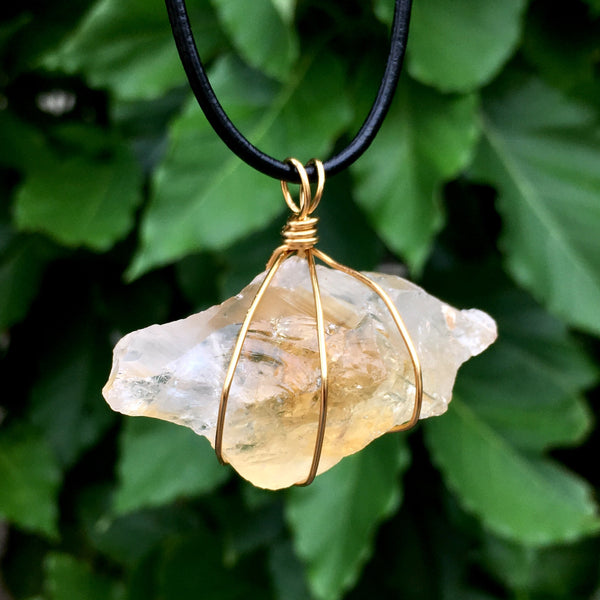 Raw Citrine Wire Wrapped Pendant - Morgan Cerese Art