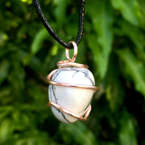 Tumbled Howlite Wire Wrapped Pendant - Morgan Cerese Art