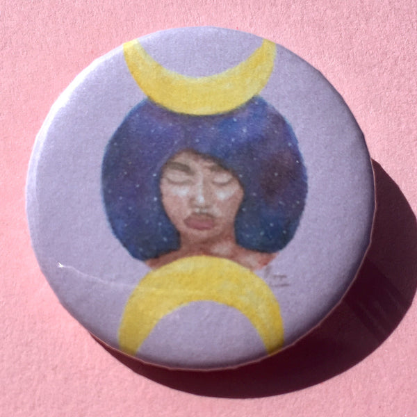 Moon Goddess Pin-back Button - Morgan Cerese Art