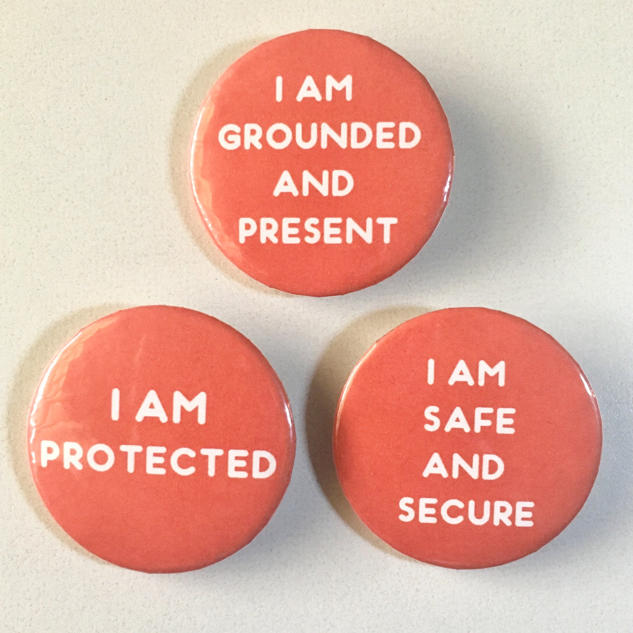 Root Chakra Affirmation Pin-back Button - Morgan Cerese Art