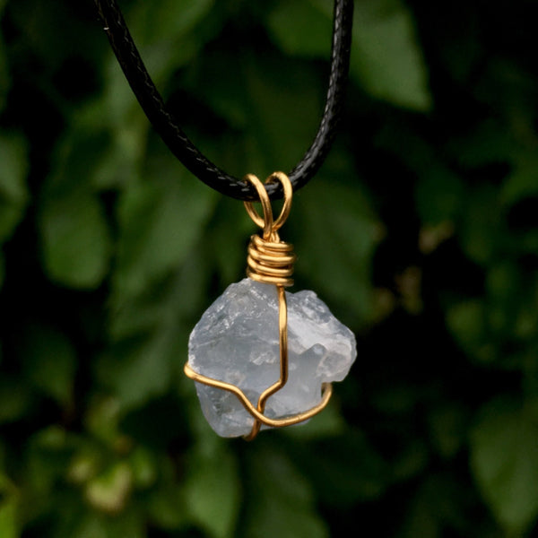 Raw Celestite Wire Wrapped Pendant - Morgan Cerese Art