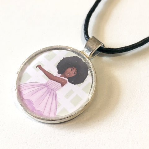 Afro Ballerina 25 mm/1 inch Art Pendant - Morgan Cerese Art
