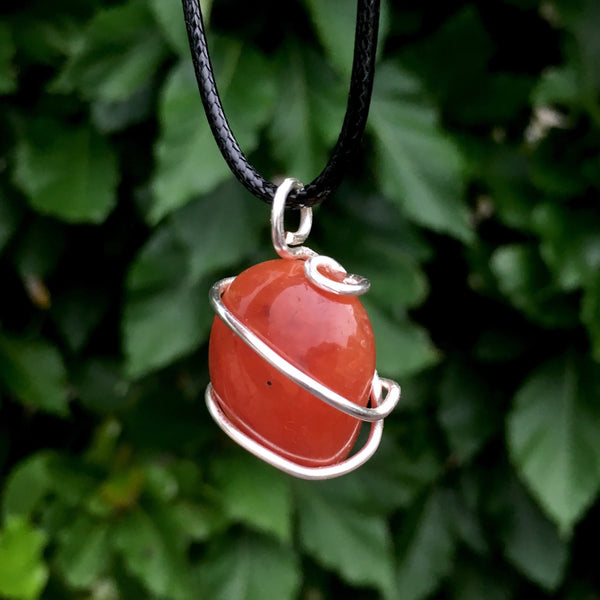 Tumbled Carnelian Spiral Cage Pendant - Morgan Cerese Art