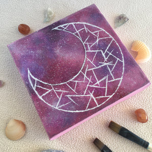 Cosmic Moon 3 Diamond Acrylic Painting - 6x6 inches - Morgan Cerese Art