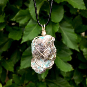 Raw Amazonite Wire Wrapped Pendant - Morgan Cerese Art