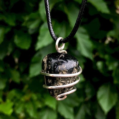 Tumbled Black Tourmaline Wire Wrapped Pendant - Morgan Cerese Art