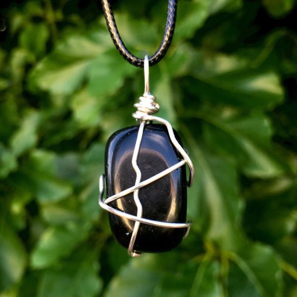 Tumbled Obsidian Wire Wrapped Pendant - Morgan Cerese Art