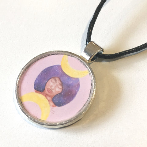 Moon Goddess 25 mm/1 inch Art Pendant