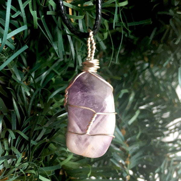 Tumbled Amethyst Wire Wrapped Pendant