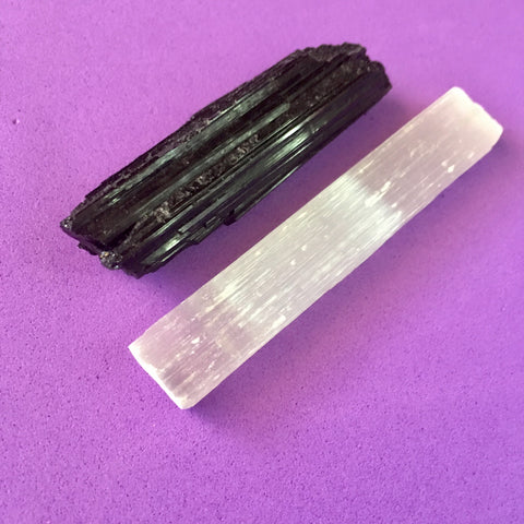Crystal Set - Black Tourmaline and Selenite