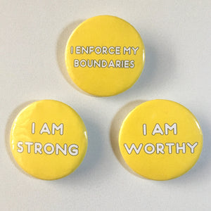 Solar Plexus Chakra Affirmation Pin-back Button - Morgan Cerese Art