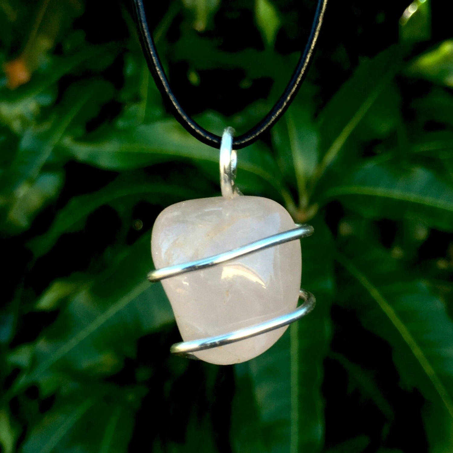 Tumbled Rose Quartz Wire Wrapped Pendant - Morgan Cerese Art