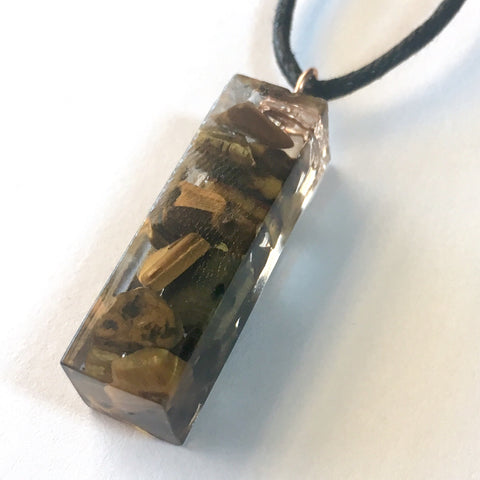 Tumbled Tiger's Eye Resin Pendant