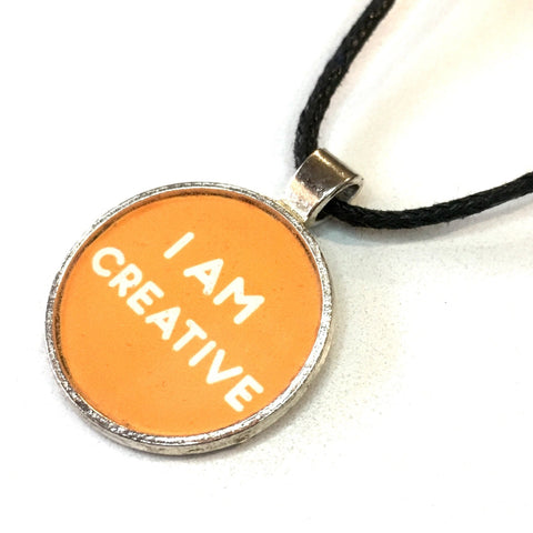 I Am Creative 25 mm/1 inch Sacral Chakra Svadhishthana Affirmation Art Pendant - Morgan Cerese Art