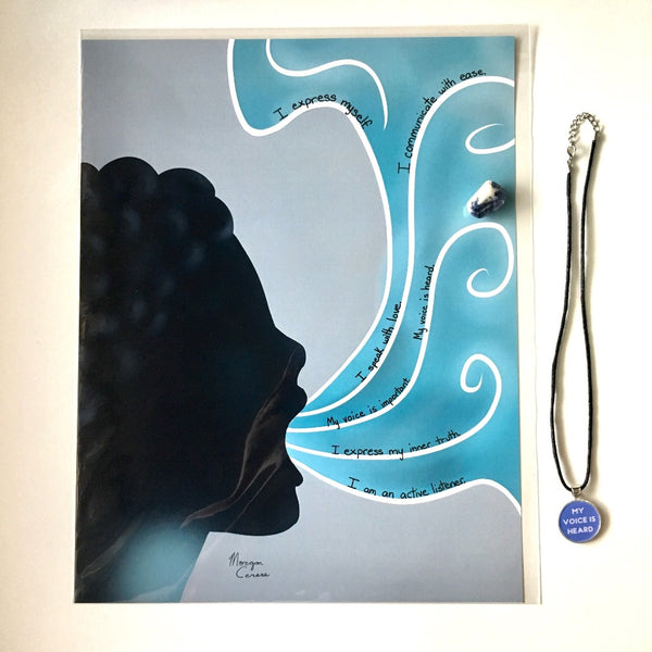 Throat Chakra Crystal & Art Bundle - Morgan Cerese Art