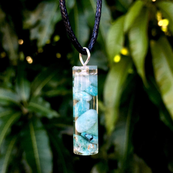 Tumbled Amazonite Resin Pendant - Morgan Cerese Art