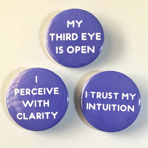 Third Eye Chakra Affirmation Pin-back Button - Morgan Cerese Art