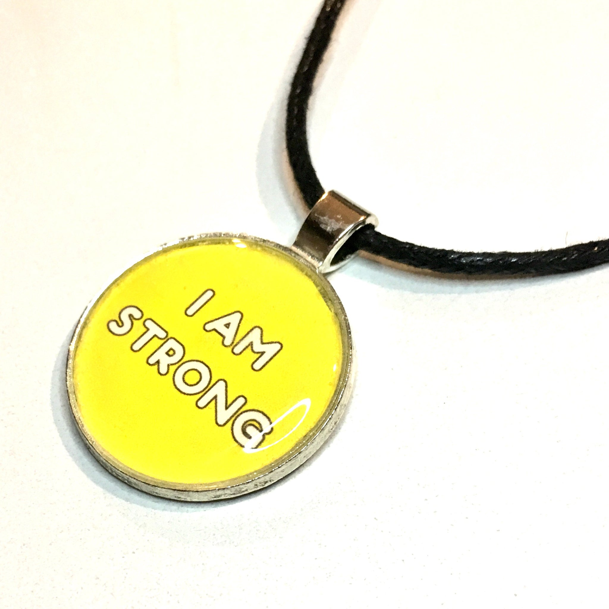 I Am Strong 25 mm/1 inch Solar Plexus Chakra Manipura Affirmation Art Pendant - Morgan Cerese Art