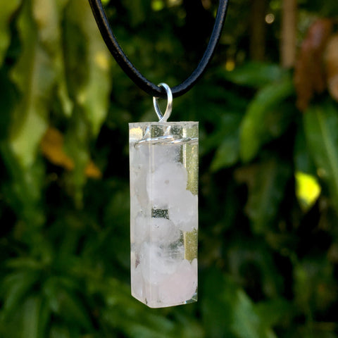 Tumbled Rose Quartz Resin Pendant - Morgan Cerese Art