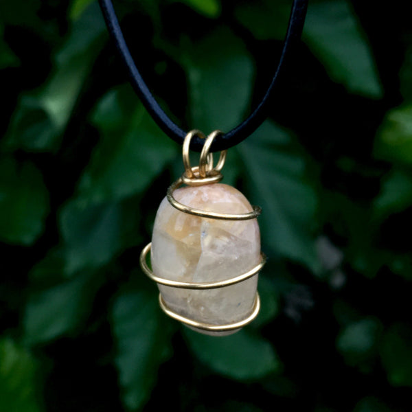 Tumbled Citrine Wire Wrapped Pendant - Morgan Cerese Art