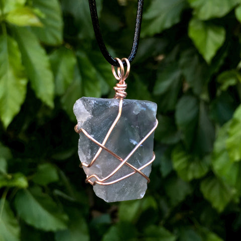 Raw Fluorite Wire Wrapped Pendant - Morgan Cerese Art