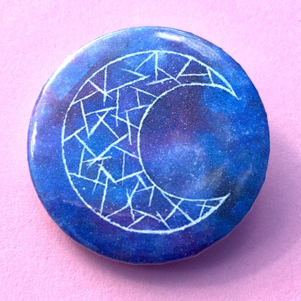 Cosmic Moon (Blue) Pin-back Button - Morgan Cerese Art