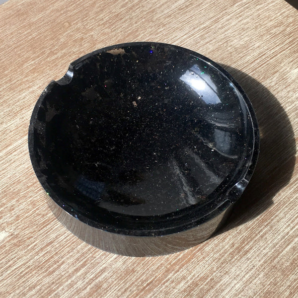Black Tourmaline Resin Dish / Bowl / Ashtray For Grounding and Protection - Morgan Cerese Art
