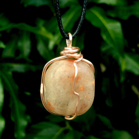 Tumbled Sunstone Wire Wrapped Pendant