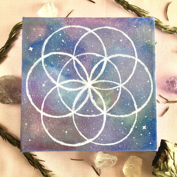 Seed of Life Acrylic Painting - 6x6 inches