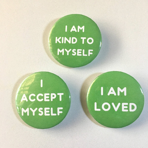 Heart Chakra Affirmation Pin-back Button - Morgan Cerese Art