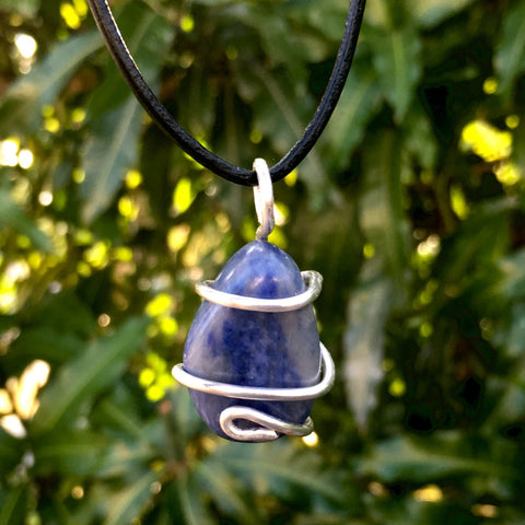 Tumbled Sodalite Wire Wrapped Pendant - Morgan Cerese Art