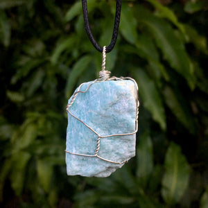 Raw Amazonite Wire Wrapped Pendant