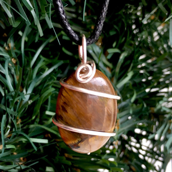 Tumbled Tiger's Eye Wire Wrapped Pendant