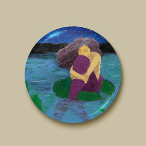 The Lost Mermaid Pin-back Button - Morgan Cerese Art