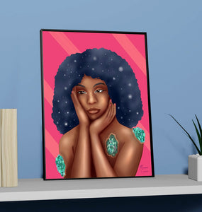 "Luminous 11""x14"" Print - Beautiful Black Women With Galaxy Afro Artwork - Morgan Cerese Art"