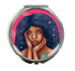 Luminous Compact Mirror - Beautiful Black Women With Galaxy Afro Artwork - Morgan Cerese Art