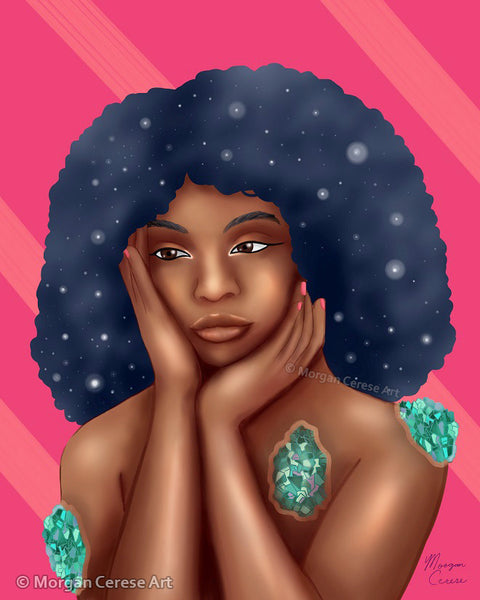 "Luminous 8""x10"" Print - Beautiful Black Women With Galaxy Afro Artwork - Morgan Cerese Art"